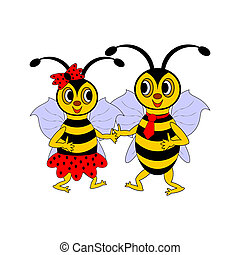 A couple of funny cartoon bees