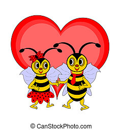 A couple of funny cartoon bees with a red heart