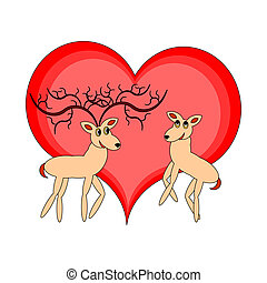 A couple of funny cartoon deer with a red heart
