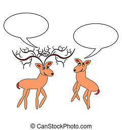 A couple of funny cartoon deer with chatting bubbles