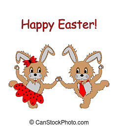 A couple of funny cartoon Easter rabbits. Easter colorful card
