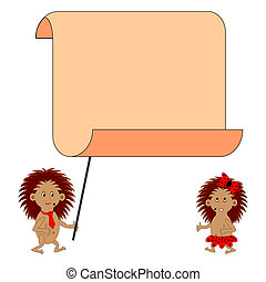 A couple of funny cartoon hedgehogs with a big blank paper