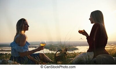 A couple of lesbians had a picnic. They clink glasses of...