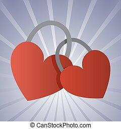 a couple of padlock locked hearts. EPS vector