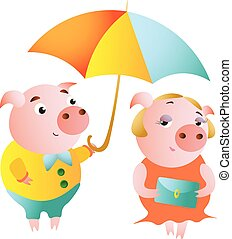 A couple of pigs and a date under an umbrella