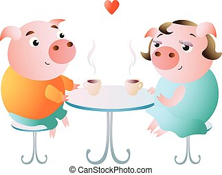 A couple of pigs on a date in a cafe.