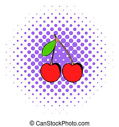 A couple of red cherries icon, comics style