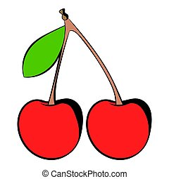 A couple of red cherries icon, icon cartoon