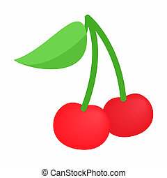 A couple of red cherries isometric 3d icon