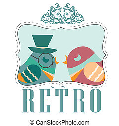 a couple of retro hipster birds in an blue icon with borders