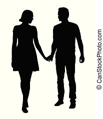A couple of young people - man and woman holding hands, vector isolated