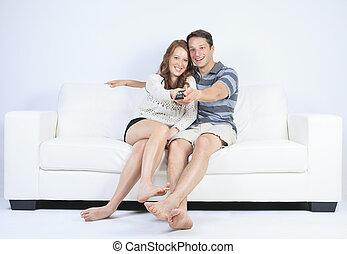 a couple on a sofa