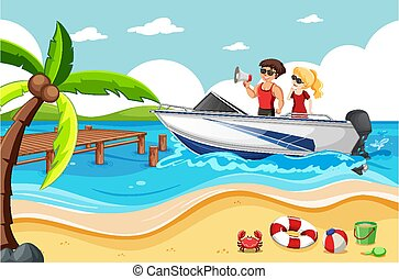 A couple on a speed boat in the beach scene