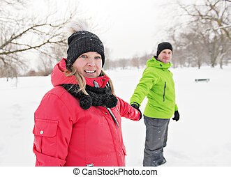 Couple on winter, man with his girlfriend