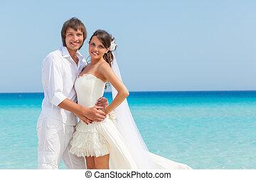 a, couple, plage