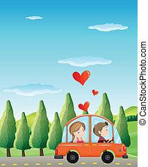 A couple riding on a car