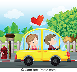 A couple riding on a yellow car