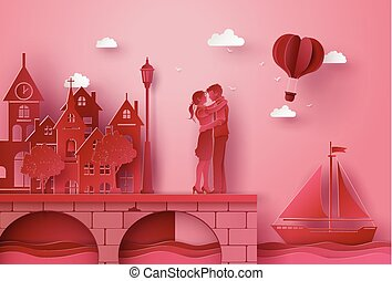 A couple standing hugging the seaside village bridge. illustrations made the same paper art and craft style.