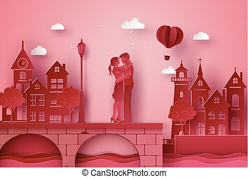 A couple standing hugging the seaside village bridge.illustrations made the same paper art and craft style.