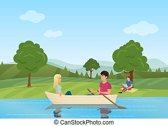 A couple swimming on boat in the pond in the park vector illustration. Man and women in boat together.