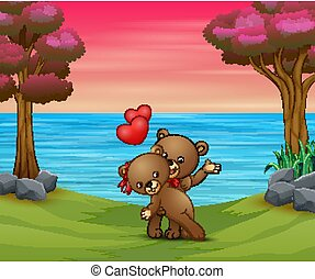 A couple teddy bear in the nature background