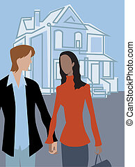A couple walking and holding hands in front of a house