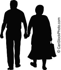 a couple walking, silhouette vector