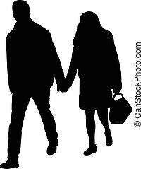 a couple walking