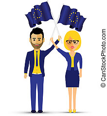a couple with european waving flags