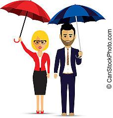 a couple with umbrellas