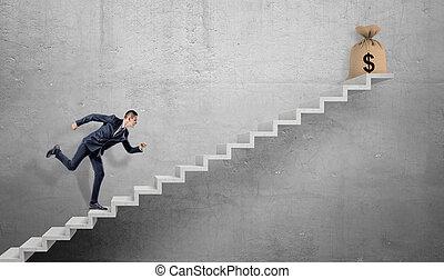 a, course homme affaires, haut, a, béton, escalier, à, a, attaché, hessian, sac, à, dollar, signe, sur, it.