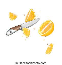 a, couteau, et, orange, coupez dans demi, are, surgelé,...