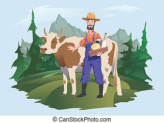 A cow and farmer in a meadow, Alpine landscape. Vector illustration for packaging of milk or dairy products.