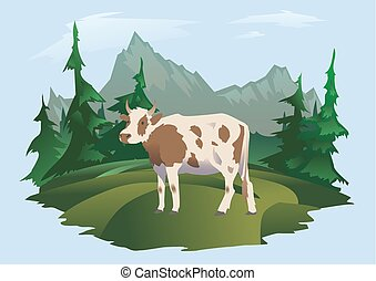 A cow grazing in a meadow, Alpine landscape. Vector illustration for packaging of milk or dairy products.