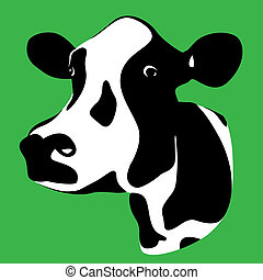 cow head - a cow head silhouette on a green background