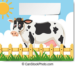 Cow dance cartoon in a farm for your design
