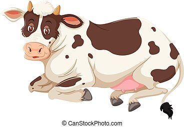 A cow on white background