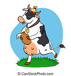 a cow with a jug of milk - cow riding on a meadow with a jug...