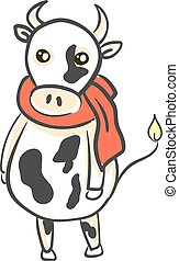 A cow with an orange scarf, vector or color illustration.