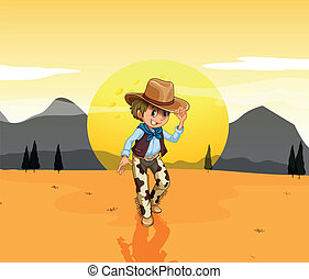 A cowboy at the desert - Illustration of a cowboy at the ...