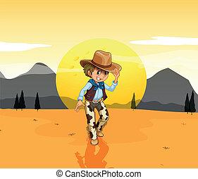A cowboy at the desert