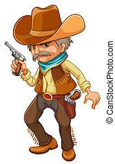 A cowboy holding a gun - Illustration of a cowboy holding a ...