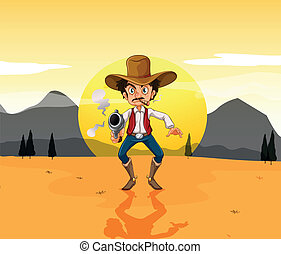 A cowboy holding a gun in the middle of the desert