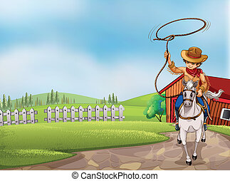 A cowboy holding a rope riding on a horse