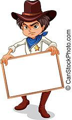 A cowboy holding an empty frame