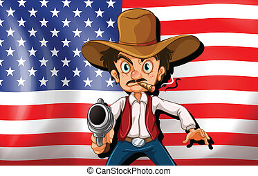 A cowboy in front of the USA flag