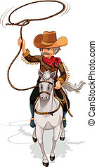 A cowboy riding a horse while holding a rope