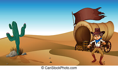 A cowboy with a carriage at the desert