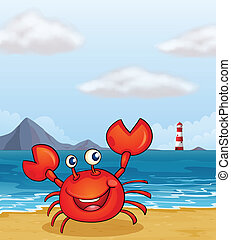 A crab at the seashore - Illustration of a crab at the...