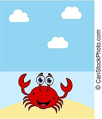 a crab on a desert island under a blue sun